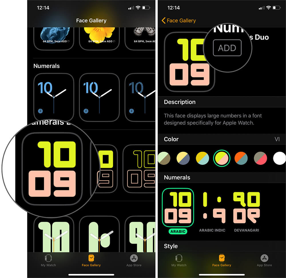 Select Digital Watch Face and Tap on Add