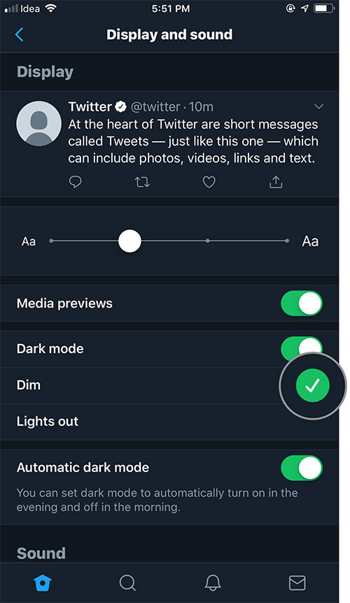 Select Dim to enable Twitter blue-gray color dark mode on iPhone or iPad