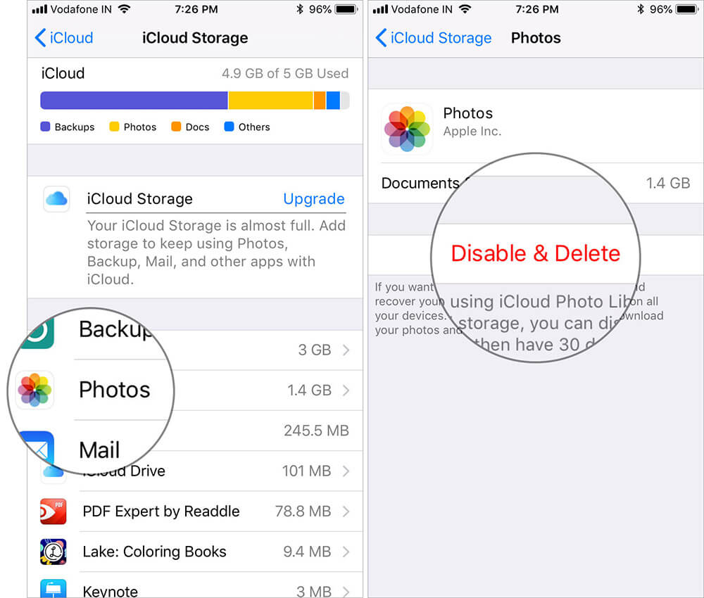 Select Disable & Delete to Turn Off iCloud Photo Library on All Devices