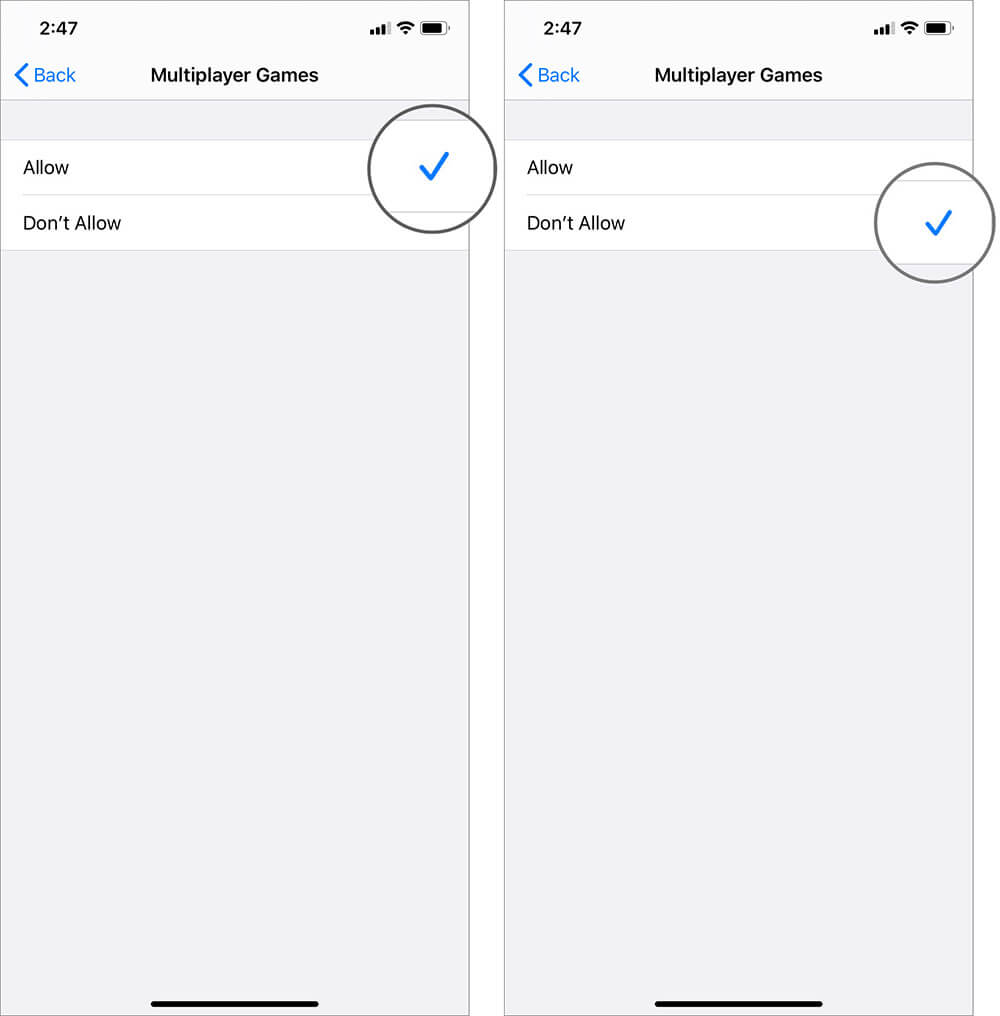 Select Don't Allow to Stop Accessing Multiplayer Games on iPhone