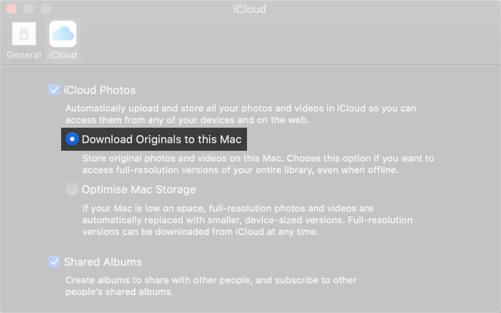 Select Download Originals to this Mac in Photos Preferences