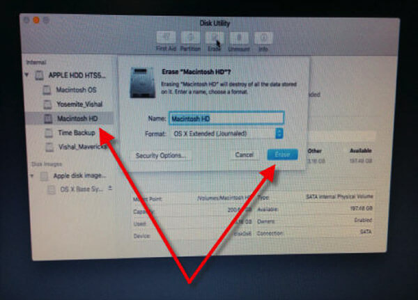 Select Drive and Click on Erase on Mac