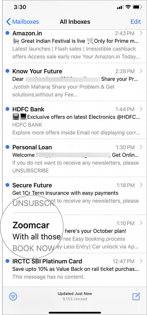Select Email By Sender You Want to Block in iOS 13 Mail App