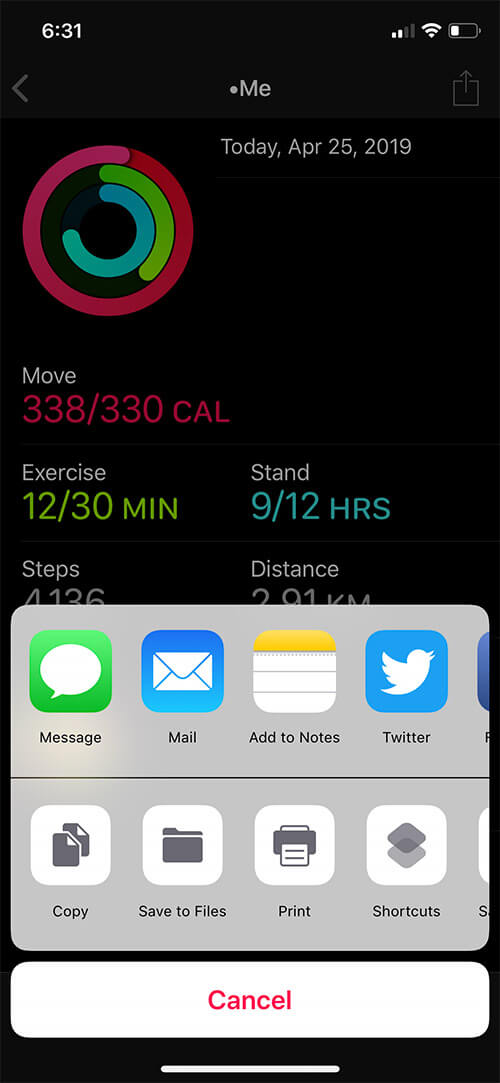 Select Email in iPhone Share Seet to Share Activity Rings