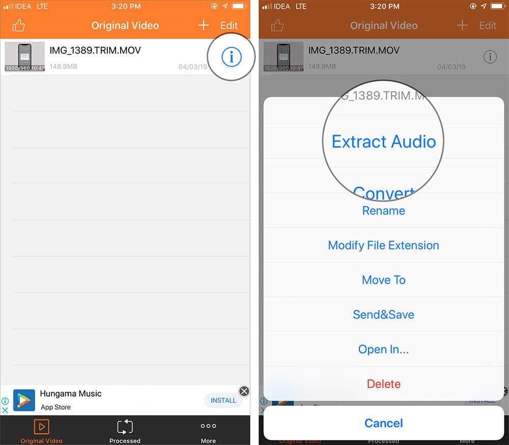 Select Extract Audio in iOS Audio Extractor app