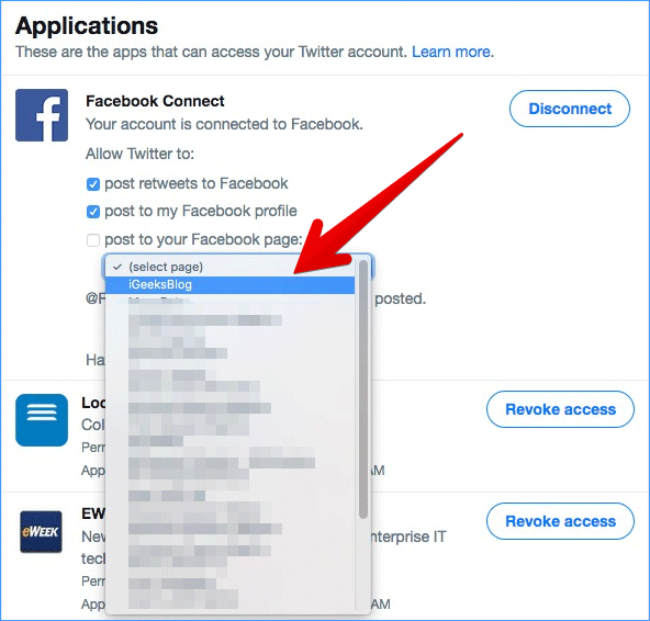 Select Facebook Page You Want to Connect with Twitter