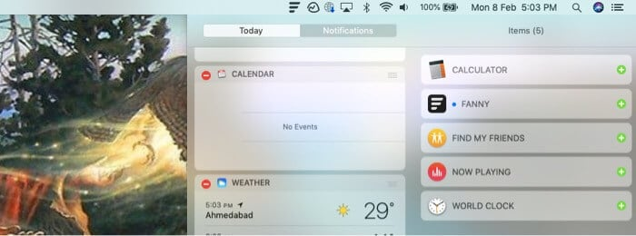 Select Fanny and tap done from Mac notification bar