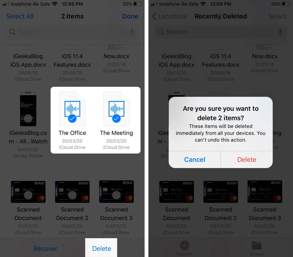 Select Files and Tap on Delete to Remove Files Permanently from iPhone
