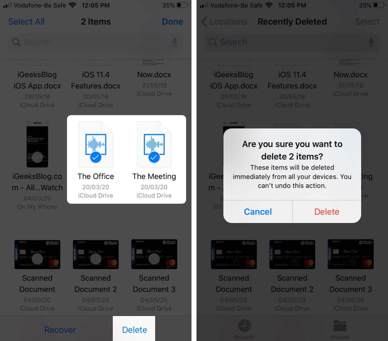 Wählen Sie Dateien und tippen Sie auf Löschen, um Dateien dauerhaft vom iPhone zu entfernen