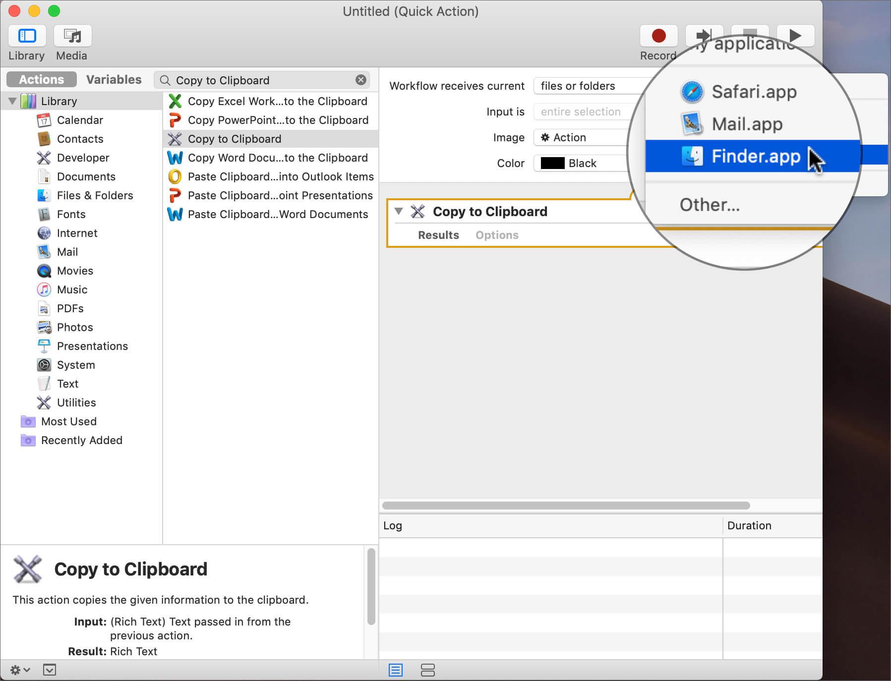Select Finder in Menu in Mac Automator App