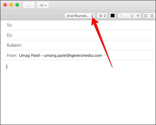 Select Font From Dropdown Menu in Compose on Mac Mail App