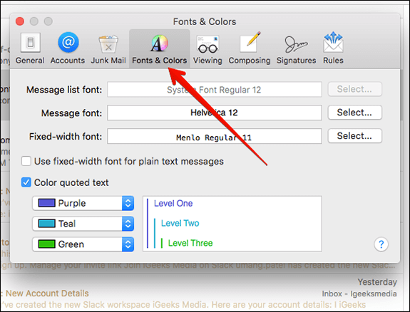 Select Fonts & Colours Tab in Preference on Mac Mail App