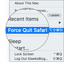 Select Force Quit Option from Apple Menu on Mac