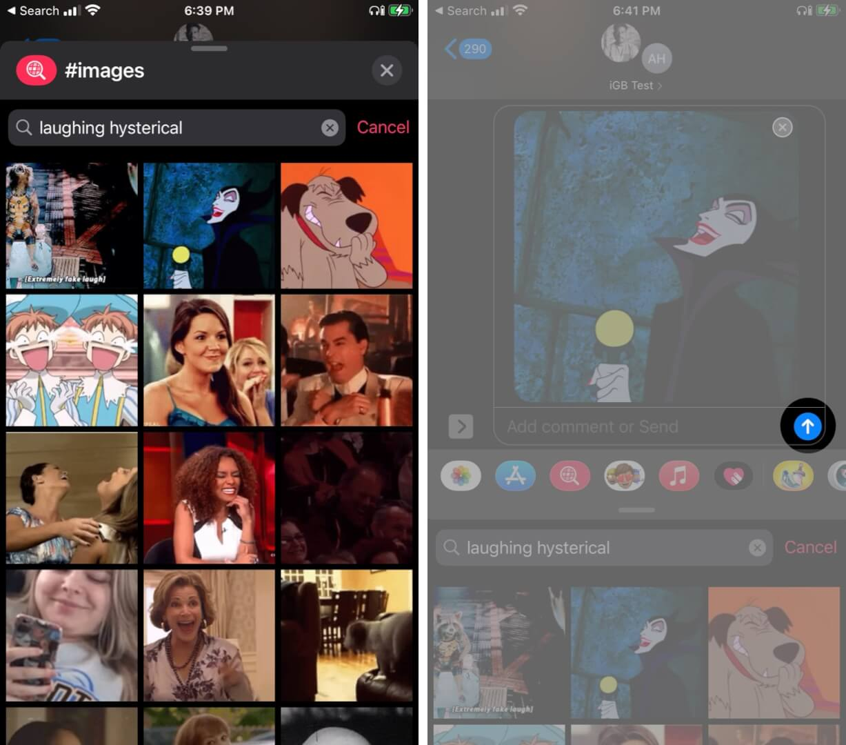 Select GIF you would like to send in iMessage, tap on forward