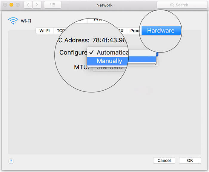 Select Hardware and Configure Manually in Mac Network Settings