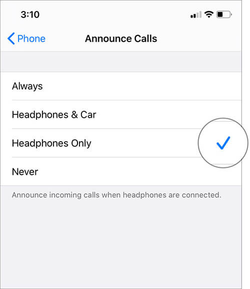 Select Headphones only to Announce Callers Name With AirPods