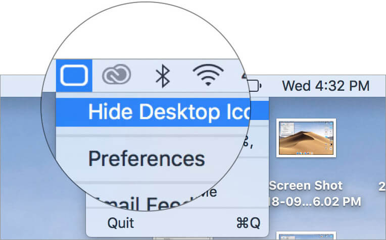 Select Hide Desktop Icons in Mac HiddenMe App