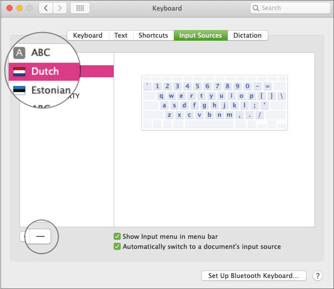 Select Layout and Click on Delete button to Remove Keyboard Layout on Mac