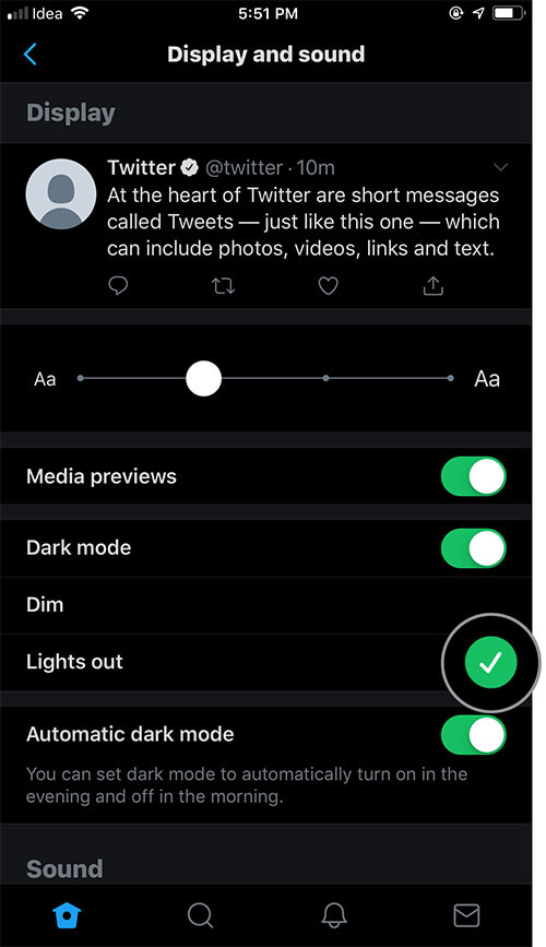 Select Light out to enable Twitter Lights out dark mode on iPhone or iPad