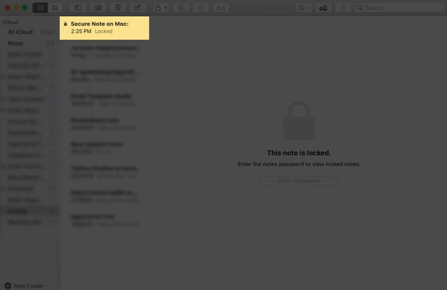 Select Locked Note on Mac