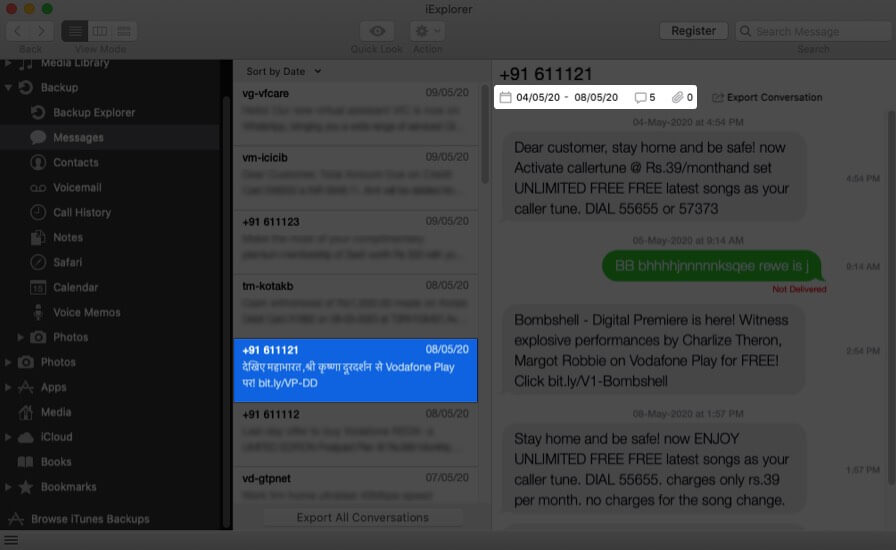 Select Message and Click on Options to View Messages