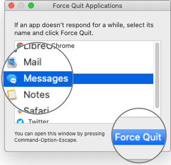 Select Messages App and Click Force Quit on Mac