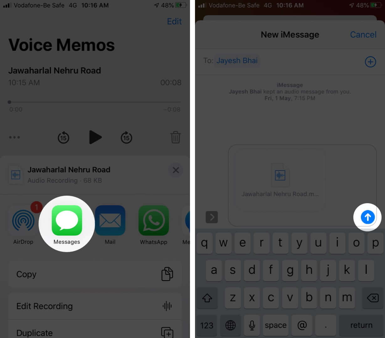 Select Messages to Send Audio Message with Voice Memos App on iPhone