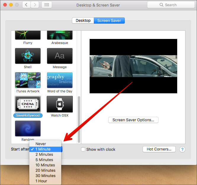 Select Minutes the Screen Saver videos start after on Mac