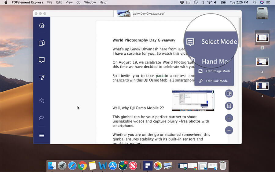 Select Mode in PDFElement Express on Mac