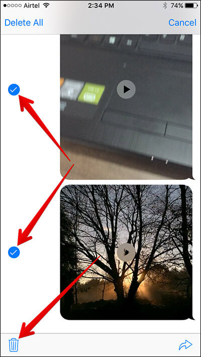 Select Mulitple Videos & Photos in iPhone Message App