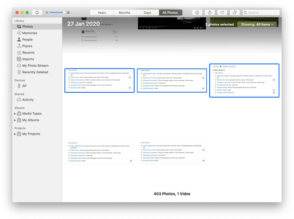 Select Multiple Photos in Mac Photos App