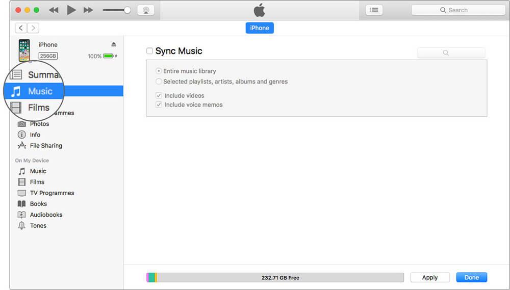 Select Music Tab in iTunes on Mac