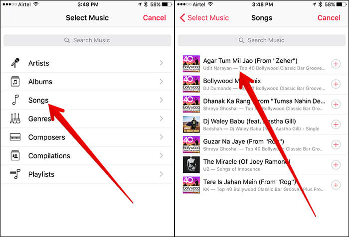Select Music to Add in Clips App on iPhone