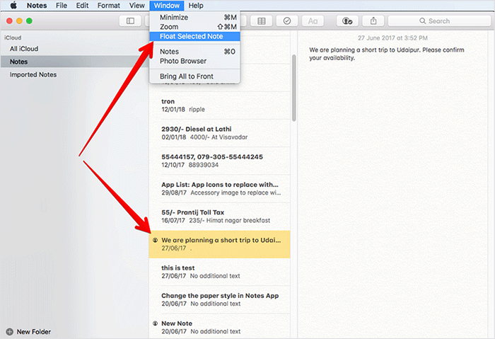 Select Note and Select Float Selected Note on MacSelect Note and Select Float Selected Note on Mac