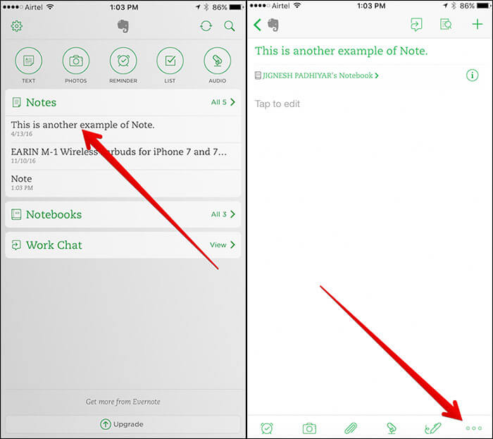 Select Note in Evernote You Want to Export then Tap on 3 Dots