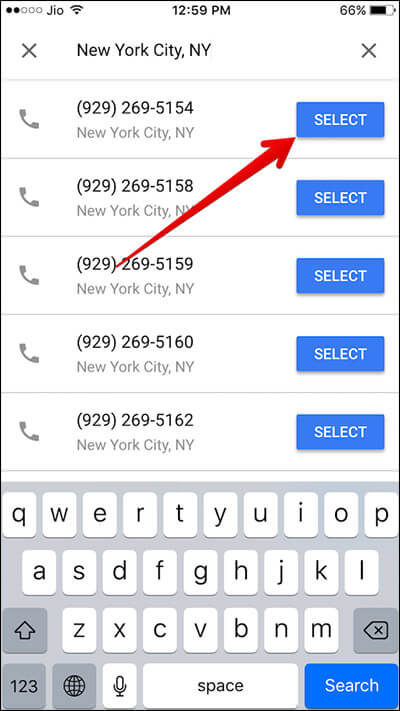 Select Number for Google Voice on iPhone
