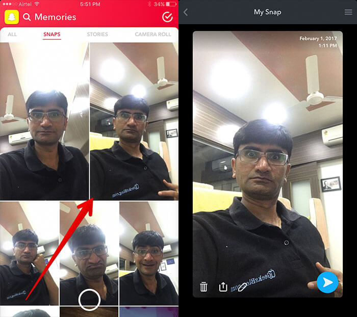 Select Old Snap on Snapchat on iPhone