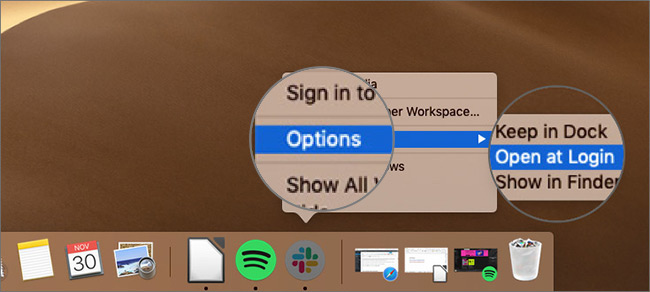 Select Open at Login in App's Option on Mac