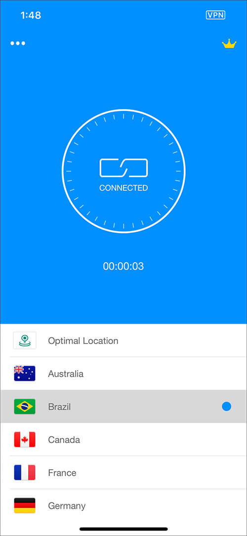 Select Optimal Location to Route Connection Via Servers in VPN app