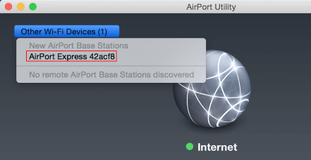 Select Other Wi-Fi Devices on the top left of AirPort Utility