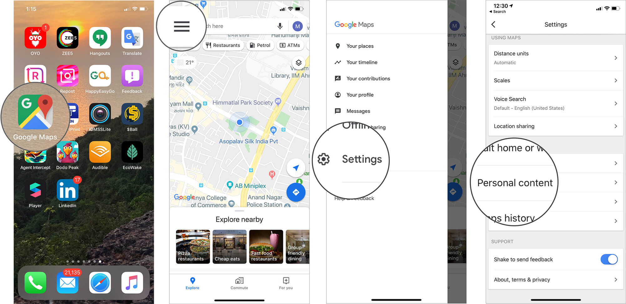 Select Personal Content on Google Maps Settings on iPhone