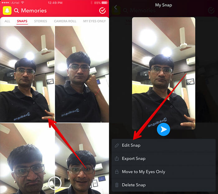 Select Photo and Tap on Edit Snap in Snapchat