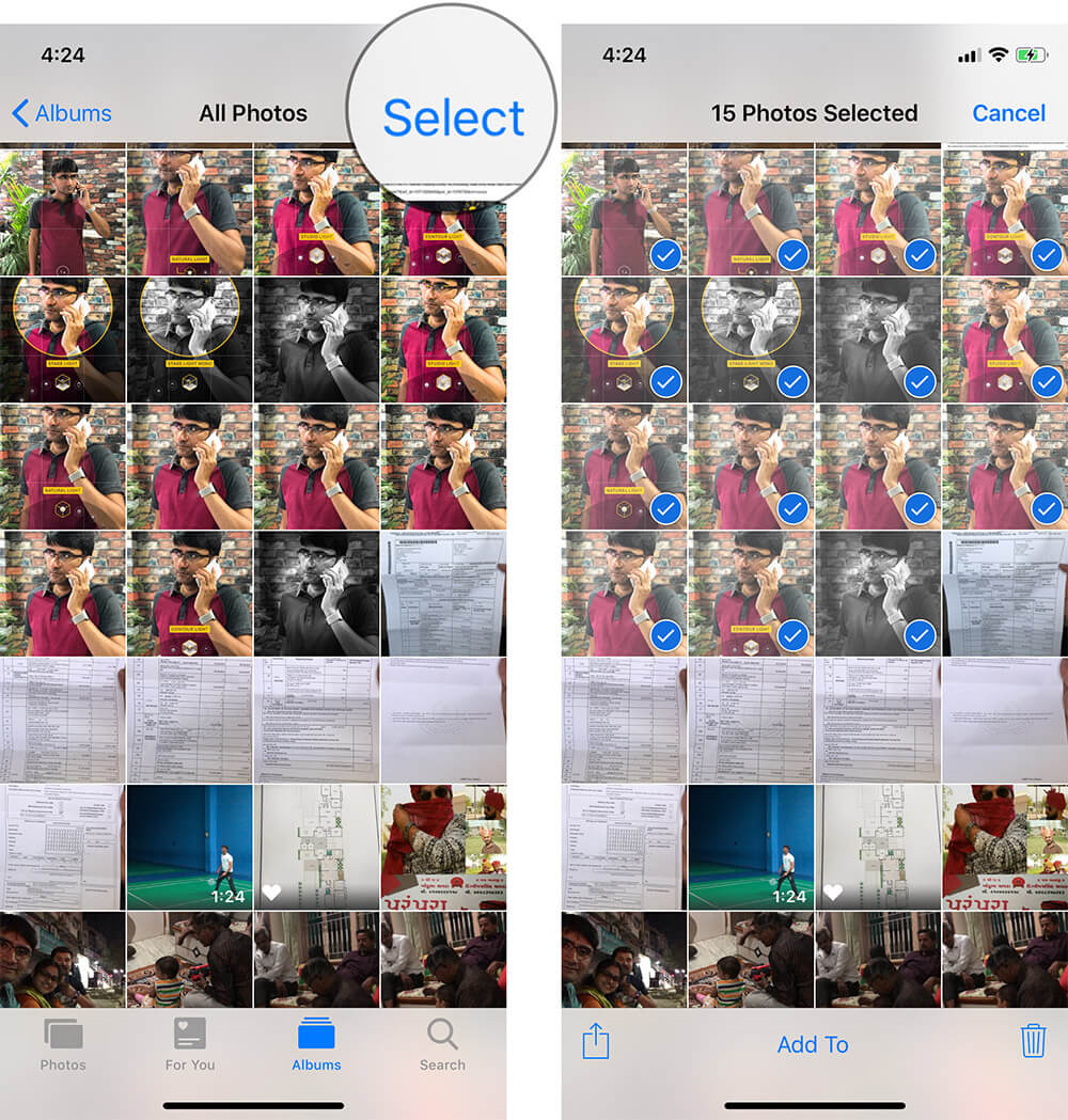 Select Photos on iPhone