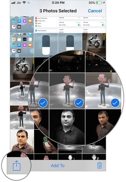 Select Photos then tap on Share button in iOS 12 Photos app