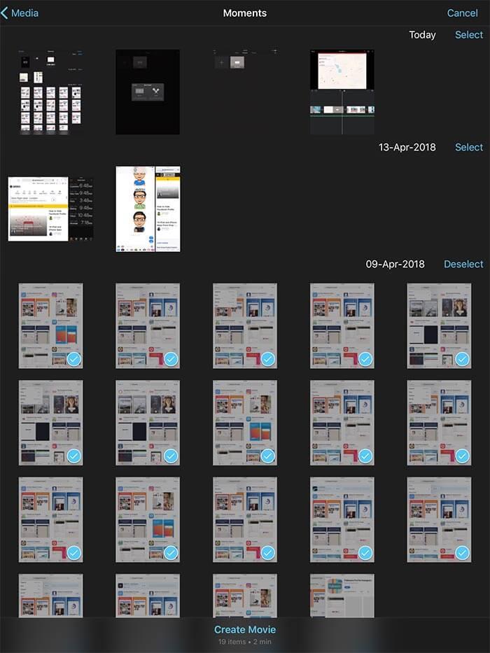 Select Photos to Create Movie on iPad