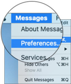 Select Preferences in Messages Menu on Mac