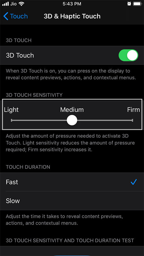 Select Preferred Option to Adjust 3D Touch Sensitivity in iOS 13