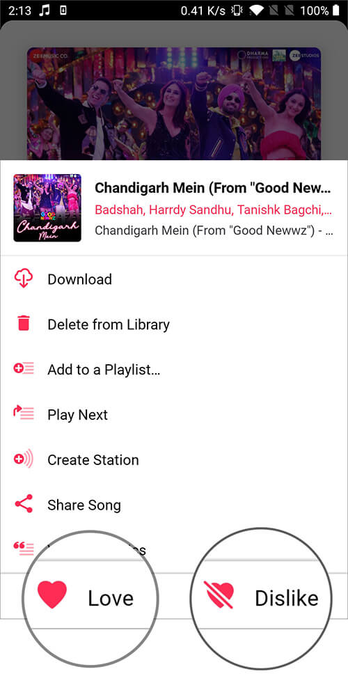 Select Preferred Option to Give Ratings in Music App on Android Phone