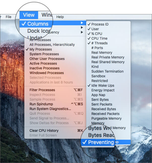 Select Preventing Sleep in Mac Activity Monitor App