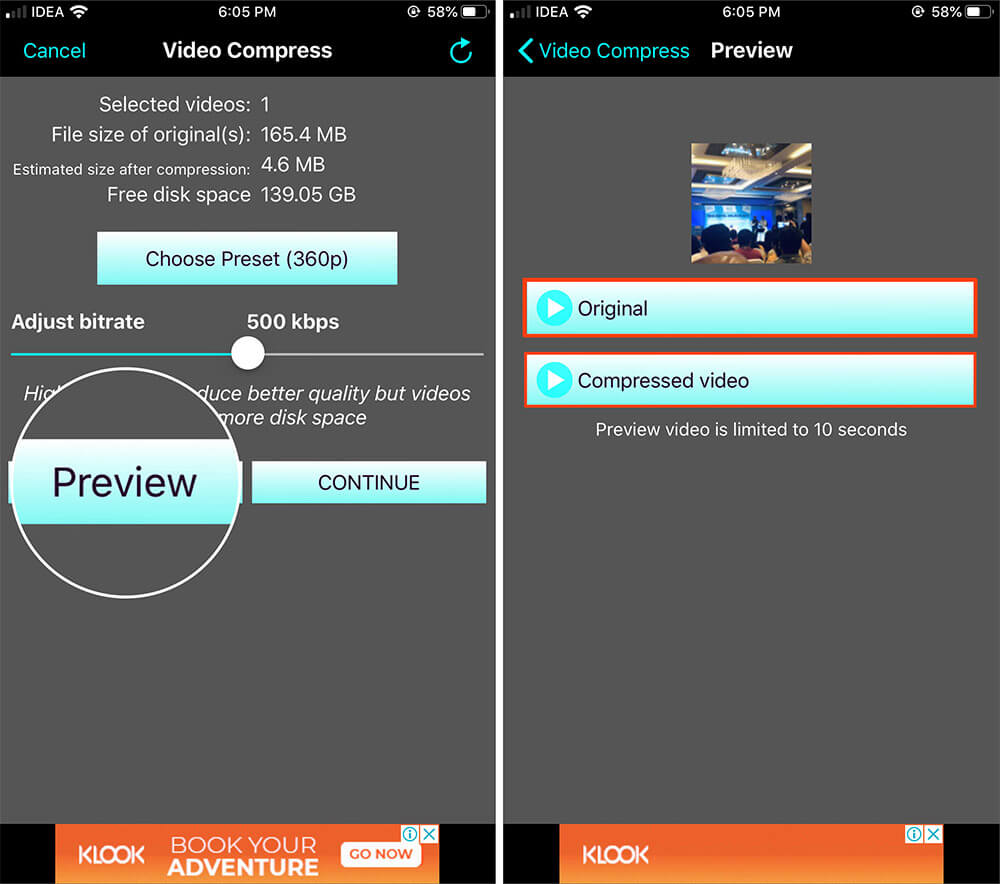 Select Preview to View Video Size in iOS Video Compressor App